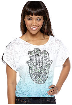 Almost Famous Lace Back High Low Screen Tee