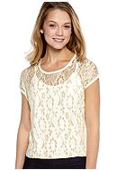 Almost Famous Cap Sleeved Hi-Lo Lurex Lace Front Tee<br>