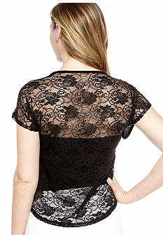 Almost Famous Lace Back High Low Skull Tee