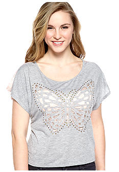 Almost Famous Lace Back High Low Butterfly Tee