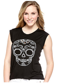 Almost Famous Skull Cut Out High Low Tee