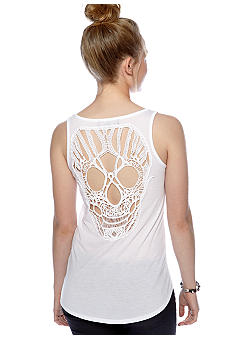 Almost Famous Crochet Skull Back Tank