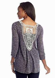 Almost Famous Crochet Back Knit Top