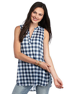 Almost Famous Sleeveless Gingham Knit Tank