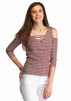 Almost Famous Lace Up Cold Shoulder Top