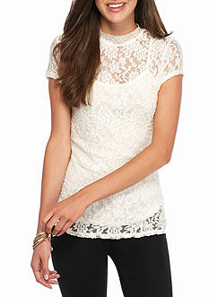 Almost Famous Mock Neck Lace Blouse with Slip