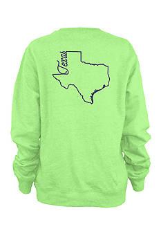 Pressbox Texas Outline Script State Fleece Top