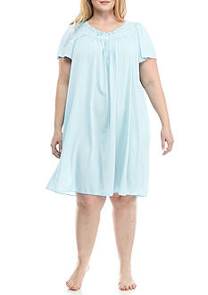 Miss Elaine Plus Size Tricot Flutter Sleeve Short Gown