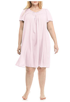 Miss Elaine Plus Size Short Nylon Tricot Gown