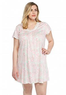 Miss Elaine Plus Size Short Knit Short Gown