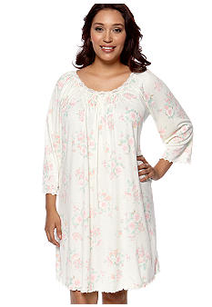 Miss Elaine Plus Size Floral Print Long Sleeve Gown