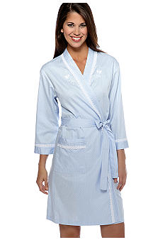 Miss Elaine Short Sateen Wrap Robe