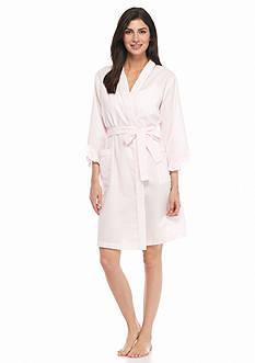 Miss Elaine Seersucker Short Wrap Robe