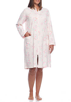 Miss Elaine Plus Size French Terry Short Zip Robe