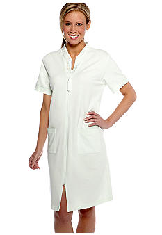 Miss Elaine Plus Size French Terry Short zipper Robe