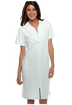 Miss Elaine Stretch Terry Short Zipper Robe