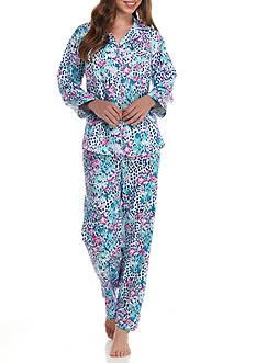 Miss Elaine Brush Back Animal Satin Pajama Set