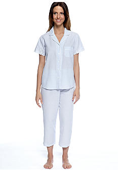 Miss Elaine Seersucker Stripe Long Pajama Set