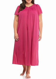 Miss Elaine Plus Size Long Tricot Nylon Gown