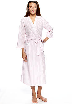 Miss Elaine Seersucker Long Wrap Robe