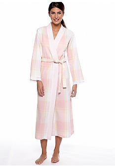 Miss Elaine Long Seersucker Wrap Robe