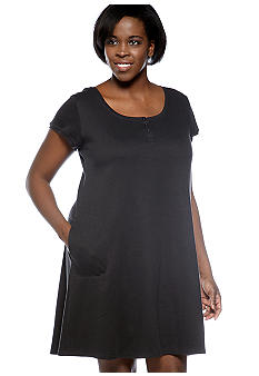 Miss Elaine Plus Size Interlock Knit Short Sleep Dress