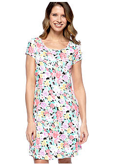 Miss Elaine Interlock Knit Floral Print Sleep Dress