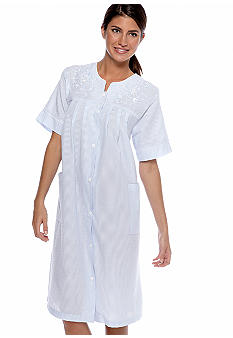 Miss Elaine Seersucker Short Gripper Robe
