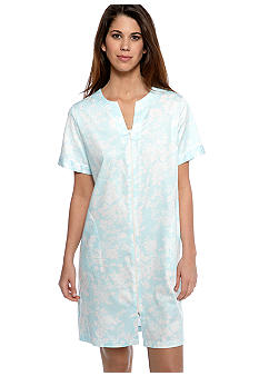 Miss Elaine Plus Size Woven Sateen Short Zip Robe