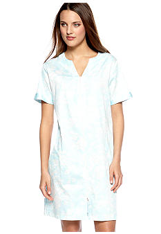 Miss Elaine Woven Sateen Short Zip Robe