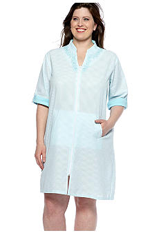 Miss Elaine Plus Size Short Seersucker Zipper Robe