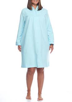 Miss Elaine Plus Size Brushed Back Terry Short Robe