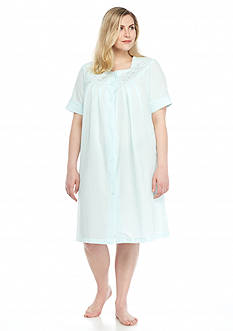 Miss Elaine Plus Size Seersucker Short Grip Robe