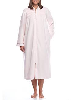 Miss Elaine Plus Size Brushed Back Terry Long Zip Robe