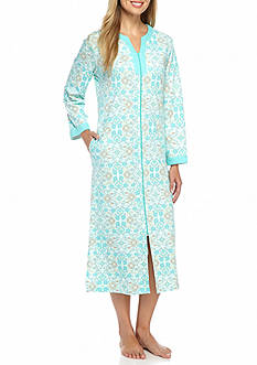 Miss Elaine Medallion Interlock Long Zip Robe