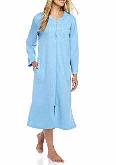 Miss Elaine Quilt In Knit Long Zip Robe