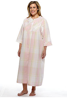 Miss Elaine Plus Size Long Seersucker Plaid Zipper Robe