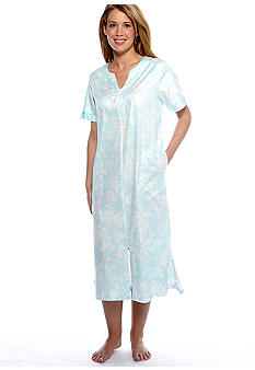 Miss Elaine Woven Sateen Long Zip Robe