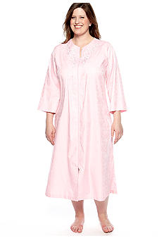 Miss Elaine Plus Size Long Woven Jacquard Zip Robe
