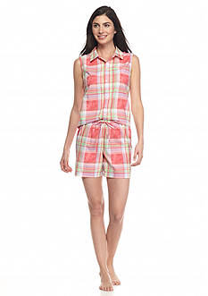 Lauren Ralph Lauren Sleeveless Shirt Boxer Pajama Set