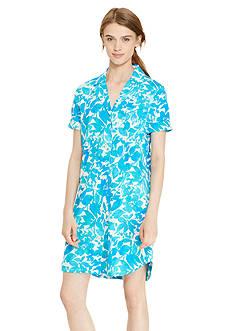 Lauren Ralph Lauren Short Sleeve Knit Button Sleepshirt