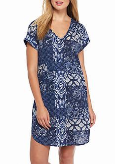 Lauren Ralph Lauren Short Sleeve Patchwork Print Sleepshirt