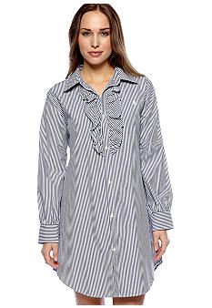 Lauren Ralph Lauren Striped Ruffled Sleep Shirt