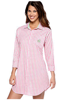 Lauren Ralph Lauren Pink/Green Woven Sleep Shirt