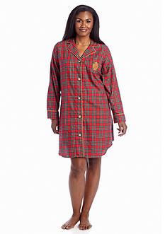 Lauren Ralph Lauren Plus Size Plaid Sleep Shirt