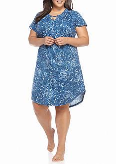 Lauren Ralph Lauren Plus Size Short Sleeve Bingham Knit Gown