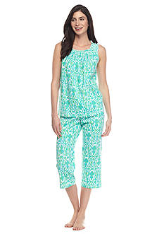 Lauren Ralph Lauren Smocked Top Capri Pajama Set