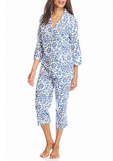 Lauren Ralph Lauren Three Quarter Knit Scroll Pajama Set