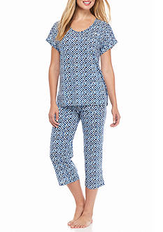 Lauren Ralph Lauren Short Sleeve Cotton Slub Pajama Set