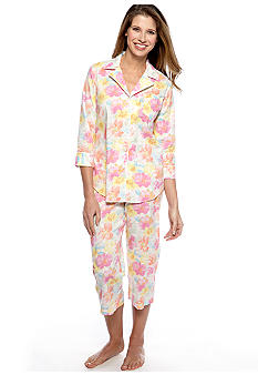 Lauren Ralph Lauren Notch Collar Two-Piece Pajama Set